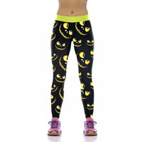 J&L New! Festival Styles Women's Leggings Pumpkin Lantern Print 3D Terror Cat Printed Elastic Legging Leggins Slim Jeggings