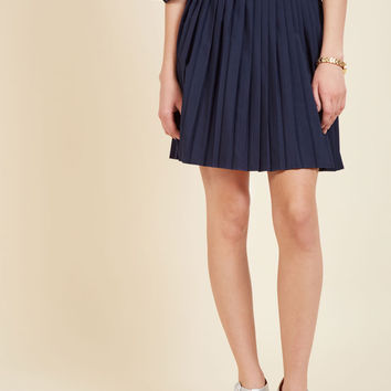Pleats as Punch A-Line Skirt in Navy | Mod Retro Vintage Skirts | ModCloth.com