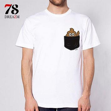 Pocket Poop Emoji Finger Men T-shirts Short Sleeve O-neck Loose Basic Casual Men T shirts