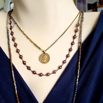 Antique Copper Metal Wheel Bead Concho Chain Necklace