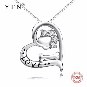 YFN Genuine 925 Sterling Silver Love Heart Crystal CZ Dog Paw Print Bone Pendants Necklaces Puppy Claw Fashion Jewerly For women