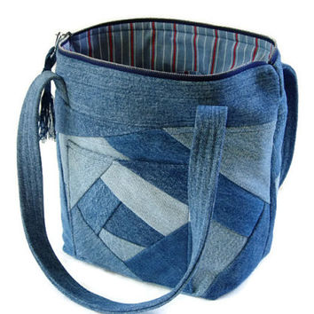 Denim Jean Crazy Quilt Purse, Upcycled Recycled Jean Bag, Blue Jean Fabric Handbag, Repurposed Fabric Womens Bag, Stylish Zippered Purse