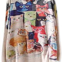 Delightful Cartoon Cat Batwing-Sleeves Sweater - OASAP.com