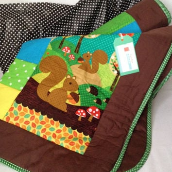 Squirrel~ woodland nursery quilt~ woodland creatures~ colourful~ bright~ cot quilt~ crib blanket~ toddler/ cot bed quilt~ baby girl blanket