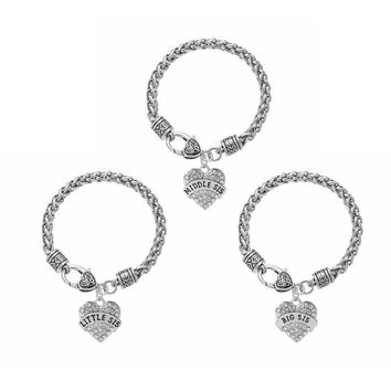 Three Heart-shaped Big Sis Middle Sis Little Sis Baby Sis Crystal Paved Heart Shape Charm Braided Bracelet Bangle Sister Jewelry