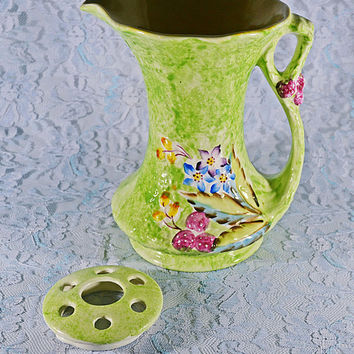 FREE SHIPPING James Kent Fenton Pitcher Flower Frog, Vintage Jug, Green Floral, Table Centerpiece