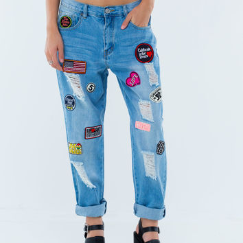Traveling Pants Patch Boyfriend Jeans GoJane.com
