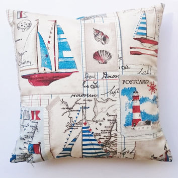 Throw pillows atlantic coast, sailing ships printed decorative pillows, Handmade cushions, handmade pillow covers made in France