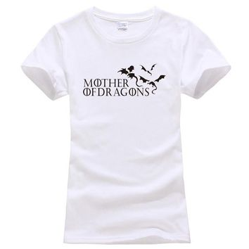 "White ""Mother of Dragons"" Women's Game of Thrones cotton T-shirt"