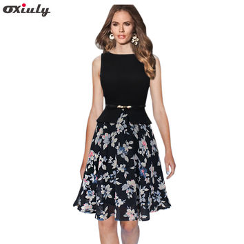Oxiuly Women Summer Fashion Sleeveless  Chiffon Patchwork Fit and Flare Faux Two Piece Cute Dress With Belt