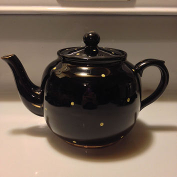 Black Teapot, Yellow Polka Dots, Price Bros England, Vintage English Teapot 1940s, 50s