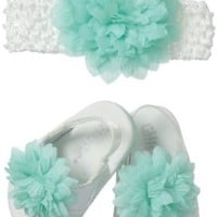 Little Me Baby-Girls Newborn Mint Flower On Headwrap and Matching Mint Flower On White Patent Thong Sandals, Blue, 6-12 Months