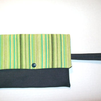 Denim Wristlet Clutch with Blue/Green Flap and Liner, Denim Purse, Denim Clutch, Clutch Purse, Wristlet