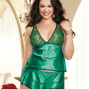 Plus Size Sexy Satin Charmeuse Camisole and Tap Pant Set
