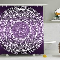 Boho Purple Mandala Shower Curtain