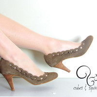 Lacy heels by CubesandSquirrels on Etsy