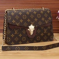 """Louis Vuitton"" Fashion Multicolor Classic Logo Print Metal Chain Single Shoulder Messenger Bag Women Small Square Bag"