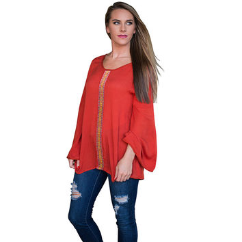 TT257 Plus SizeS-XL Slouchy Low Back V Plunge Flare Sleeve Long Sleeve Casual Loose Fit T-shirts Tops Pullover For Womens New