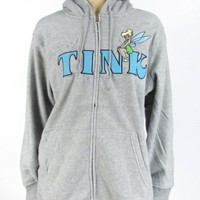 Tinkerbell Hoodie Zip Up Jacket Grey Fleece Plus Size Tink Tinker Bell Gray