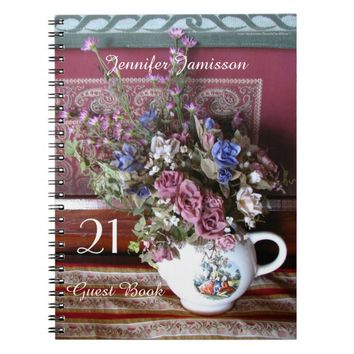 21st Birthday Party Guest Book, Vintage Teapot Notebook
