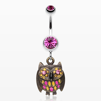 Vintage Owl Sparkle Belly Ring