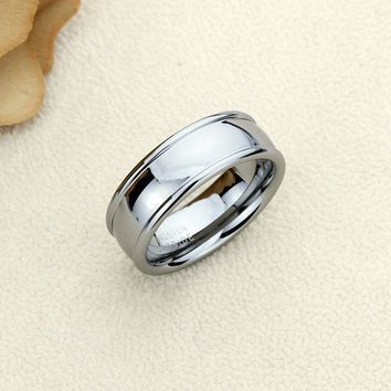 Personalized Name Ring Custom Engraving 8mm Tungsten Comfort Fit Wedding Band Domed Raised Edges Band - CZRTN432
