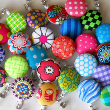 Wholesale ID Badge Reels from Fabric Covered Buttons by JeJeweled