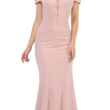 Off-Shoulder Mauve Long Formal Dress with Sheer Cut-Out Bodice