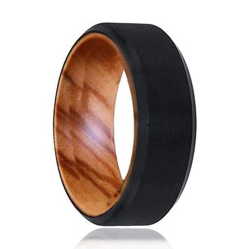 Beveled Men's Black Tungsten Wedding Band with Olive Wood Sleeve - 8mm