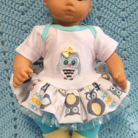 "AMERICAN GIRL Bitty Baby Clothes ""Who, Who?"" (15 inch) doll outfit  dress, leggings, booties/ socks, and headband hair clip owls"