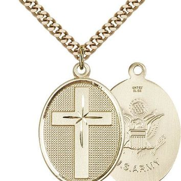 Men's 14K Gold Filled Cross Army Military Soldier Catholic Medal Necklace 617759060652
