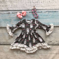 girls clothes baby kids clothes Polar bear print cotton Fall Winter white lace dress boutique flare sleeve matching necklace&bow