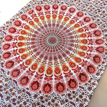 ORANGE WHITE Hippie Mandala Tapestry wall hanging boho bohemian twin bedding throw cotton bedspread ethnic home decor art