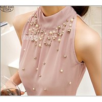 Women Beading Chiffon Blouse Korean Fashion Sleeveless Women Turtleneck Chiffon Blouse Shirt Women Top S M L XL835I 42