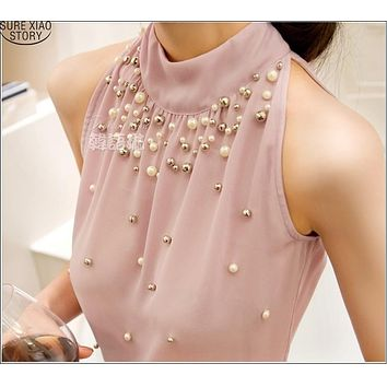 2015 New Women Beading Chiffon Blouse Korean Fashion Sleeveless Women Turtleneck Chiffon Blouse Shirt Women Top S M L XL835I 42
