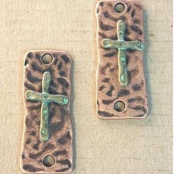 AB-0197 - Antique Copper Pewter Rectangle With Cross Jewelry Connector, 15x37mm | Pkg 2