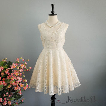 A Party V Lolita Backless Dress Eyelet Cream Ivory Lace Bow Back Dress Prom Party Cocktail Dress Bow Lace Wedding Bridesmaid Dresses XS-XL
