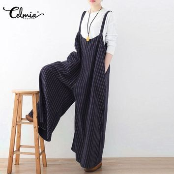 Celmia Women Jumpsuit Summer Vertical Striped Long Playsuit Sexy Backless Rompers Casual Loose Oversized Overalls Plus Size