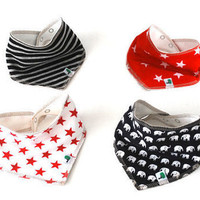 Black red bib set baby bandanas four organic by OliveAndVince