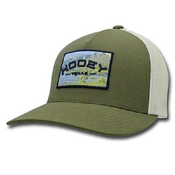 "HOOey Hat New Release Olive Green / Cream flex ""Devils River"" 1814GNCR-02 L/XL"