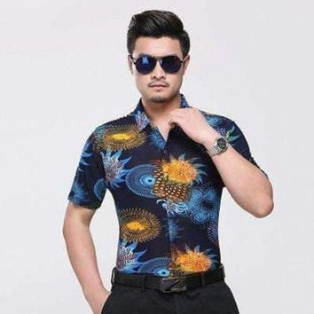 ONETOW men hawaiian short sleeve shirt male luxury aloha flower floral printed casual shirt clothes