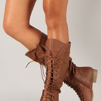 Coco-39 Round Toe Military Lace Up Knee High Boot