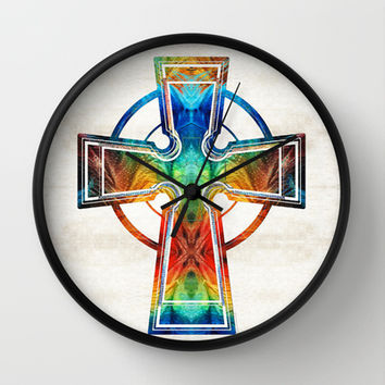 Colorful Celtic Cross by Sharon Cummings Wall Clock by Sharon Cummings