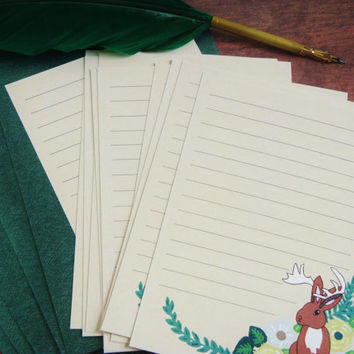 Mythical forest jackalope stationery letter set
