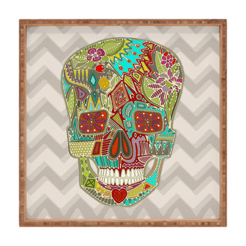 Sharon Turner Flower Skull Square Tray