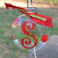 8 Initial and name Christmas Ornament with ribbon and pola dots