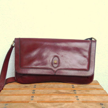 Maroon Leather Bag, Etienne Aigner Hobo, 70s 80s Organizer, Envelope Sling Purse, Burgundy Tote, Oxblood Handbag, Chestnut Brown Pouch