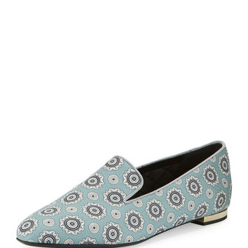 Burberry Mormont Printed Fabric Loafer, Pale Stone Blue