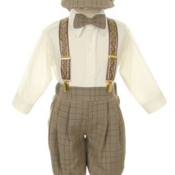 Vintage Dress Suit-Bowtie,Suspenders,Knickers Outfit Set for Baby Boys & Toddler, Brown Plaid size 12M