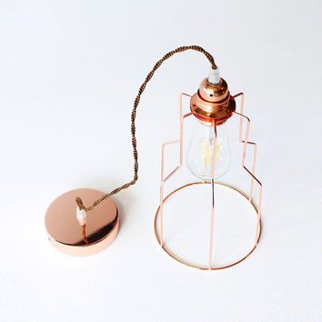 Copper Cage Pendant Light Minimal Industrial Vintage Hanging Lamp Geometric Lighting Lampshade Home Decor Edison Chandelier